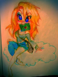 Size: 600x800 | Tagged: safe, artist:bunnyoxo, derpy hooves, human, bag, clothes, cloud, humanized, letter, makeup