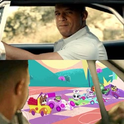 Size: 576x575 | Tagged: safe, edit, edited screencap, screencap, angel bunny, gummy, opalescence, owlowiscious, tank, winona, my little pony: pony life, the fast and the furriest, spoiler:pony life s01e11, dominic toretto, the fast and the furious, vin diesel