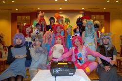 Size: 1920x1276 | Tagged: artist needed, safe, artist:bunnyoxo, artist:cartoon263, artist:don_ttir, artist:jamis_bro, artist:natsune_amina, artist:yogiingrid, apple bloom, lyra heartstrings, maud pie, pinkie pie, shining armor, smooze, sunset shimmer, human, clothes, convention:japanponycon, cosplay, costume, dress, irl, irl human, japan ponycon, photo, pie sisters, siblings, sisters, skirt