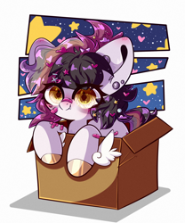 Size: 2000x2400 | Tagged: safe, artist:etoz, oc, oc only, bandaid, blushing, box, chibi, commission, cute, ear piercing, earring, fangs, female, happy, heart, jewelry, mare, piercing, sitting, solo, stars, ych result
