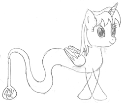 Size: 957x800   Tagged: safe, artist:parclytaxel, oc, oc only, oc:parcly taxel, alicorn, genie, genie pony, pony, albumin flask, series:nightliner, trotcon, alicorn oc, bottle, crossed hooves, female, horn, lineart, mare, monochrome, pencil drawing, smiling, solo, traditional art, wings