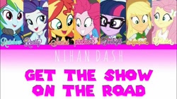 Size: 1280x720 | Tagged: safe, applejack, fluttershy, pinkie pie, rainbow dash, rarity, sci-twi, sunset shimmer, twilight sparkle, eqg summertime shorts, equestria girls, get the show on the road, female, humane five, humane seven, humane six