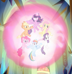Size: 747x770 | Tagged: safe, screencap, applejack, fluttershy, pinkie pie, rainbow dash, rarity, twilight sparkle, alicorn, the beginning of the end, cropped, ethereal mane, female, floating, glowing horn, group, holding hooves, horn, magic, magic aura, magic of friendship, mane six, spread wings, twilight sparkle (alicorn), wings