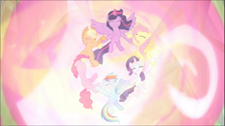 Size: 1670x939 | Tagged: safe, screencap, applejack, fluttershy, pinkie pie, rainbow dash, rarity, twilight sparkle, alicorn, the beginning of the end, cropped, cute, ethereal mane, eyes closed, female, glowing horn, group, holding hooves, horn, magic of friendship, mane six, smiling, spread wings, twilight sparkle (alicorn), wings