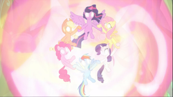 Size: 1669x938 | Tagged: safe, screencap, applejack, fluttershy, pinkie pie, rainbow dash, rarity, twilight sparkle, alicorn, the beginning of the end, cropped, ethereal mane, female, glowing eyes, glowing horn, group, holding hooves, horn, magic, magic aura, magic of friendship, mane six, spread wings, twilight sparkle (alicorn), wings