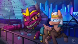 Size: 4096x2304 | Tagged: safe, artist:klarapl, somnambula, sphinx (character), pegasus, pony, robot, sphinx, absurd resolution, city, commission, cyberpunk, future, looking at each other, private eye, raised hoof, smiling