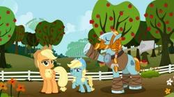 Size: 1280x718   Tagged: safe, artist:swiftgaiathebrony, applejack, rockhoof, oc, oc:liberty apple, apple, apple orchard, apple tree, female, fence, filly, male, offspring, orchard, parent:applejack, parent:rockhoof, parents:rockjack, rockhoof's shovel, rockjack, shipping, shovel, straight, sweet apple acres, tree
