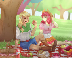 Size: 1360x1112 | Tagged: safe, artist:toxiccolour, applejack, strawberry sunrise, human, accessory theft, apple, applejack's hat, applerise, basket, belt, blanket, boots, bowl, bread, clothes, cowboy boots, cowboy hat, cute, eating, eyes closed, female, flats, food, freckles, grapes, hat, humanized, jackabetes, lesbian, lettuce, orange, pear, picnic, picnic basket, picnic blanket, salad, sandwich, shipping, shirt, shoes, shorts, skirt, soda, strawberry, strawwberry sunrise, tree