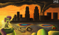 Size: 854x512 | Tagged: safe, artist:dreamyskies, artist:dreamyskiesarts, fluttershy, fish, pegasus, pony, 3ds, city, cityscape, corpses, crying, dark, dead, dirty, dying, factory, female, junk, mare, mess, pollution, sad, sitting, sunset, toxic