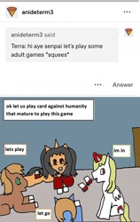 Size: 756x1195 | Tagged: safe, artist:ask-luciavampire, oc, bat pony, earth pony, pony, vampire, vampony, tumblr:ask-the-pony-gamers, ask, card game, tumblr