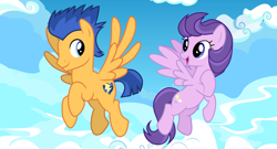 Size: 2064x1114 | Tagged: safe, artist:cheezedoodle96, artist:cloudyglow, artist:not-yet-a-brony, edit, vector edit, clear skies, flash sentry, pegasus, pony, cloud, cloudsdale, crack shipping, fanfic, female, fimfiction, fimfiction.net link, husband and wife, implied pregnancy, link in description, looking at each other, male, married couple, shipping, sky, vector