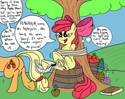 Size: 2929x2312 | Tagged: safe, artist:darkknighthoof, artist:icey-wicey-1517, color edit, edit, apple bloom, applejack, earth pony, pony, apple, basket, bondage, book, brush, colored, dishonorapple, feather, female, fetish, filly, food, hoof fetish, hooves, mare, pineapple, potion, punishment, rope, sibling tickling, siblings, sisters, tickle fetish, tickle torture, tickling, tied up, tree, underhoof