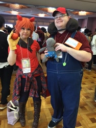 Size: 768x1024 | Tagged: artist needed, safe, photographer:osakajack, big macintosh, smarty pants, human, apple, clothes, convention:japanponycon, cosplay, costume, food, irl, irl human, japan ponycon, photo, pony ears