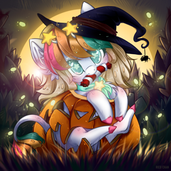 Size: 3000x3000 | Tagged: safe, artist:rico_chan, oc, earth pony, pony, spider, big eyes, bush, candy, commission, digital, ear fluff, fluffy, food, glow, glowing eyes, glowworm, glowworms, grass, halloween, hat, holiday, pumpkin, solo, starry eyes, stars, sun, sunglasses, sunset, sweet, wingding eyes, witch, witch hat, ych result