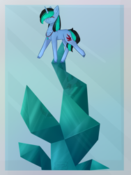 Size: 2067x2756 | Tagged: safe, artist:chrystal_company, oc, oc only, oc:nightmare chrystal, crystal pony, pony, unicorn, balancing, colored hooves, eyes closed, horn, jewelry, necklace, smiling, solo, unicorn oc