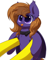 Size: 5000x6000 | Tagged: safe, artist:acersiii, oc, oc:lemon drop, oc:lunar rose, bat pony, pony, :p, bat pony oc, big eyes, blepping, chest fluff, collar, colored pupils, commission, cute, dilated pupils, ear fluff, ear tufts, female, holding a pony, mare, ocbetes, offscreen character, orange mane, pov, purple coat, purple eyes, simple background, small pony, smiling, solo focus, tongue out, transparent background, underhoof, wings