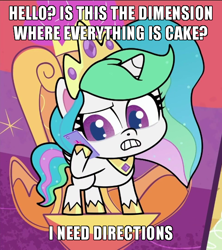 Size: 600x675 | Tagged: safe, edit, edited screencap, screencap, princess celestia, alicorn, pony, my little pony: pony life, pinkie pie: hyper-helper, spoiler:pony life s01e06, cake, cakelestia, caption, cellphone, everything is cake, food, image macro, meme, phone, smartphone, text