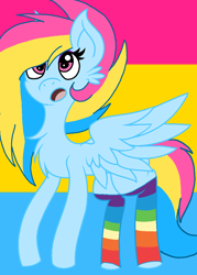 Size: 784x1096 | Tagged: safe, artist:circuspaparazzi5678, oc, oc:pansexual, pegasus, pony, base used, clothes, cute, pansexual, pansexual pride flag, pride, pride flag, rainbow socks, socks, solo, striped socks, surprise face