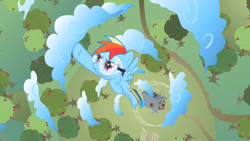 Size: 1280x720 | Tagged: safe, screencap, rainbow dash, pegasus, pony, lesson zero, apple, apple tree, cloud, safety goggles, solo, tree
