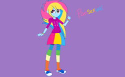 Size: 884x549 | Tagged: safe, artist:circuspaparazzi5678, oc, oc:pansexual, equestria girls, base used, clothes, converse, hoodie, rainbow socks, shoes, skirt, socks, solo, striped socks, wristband
