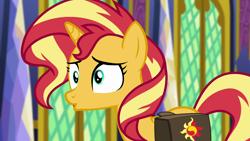 Size: 1920x1080 | Tagged: safe, screencap, sunset shimmer, pony, unicorn, equestria girls, equestria girls series, forgotten friendship, cute, shimmerbetes, solo