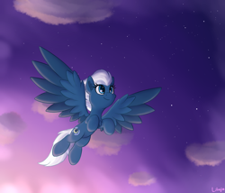 Size: 1750x1500 | Tagged: safe, artist:litrojia, night glider, pegasus, pony, atg 2020, cheek fluff, chest fluff, cloud, colored wings, ear fluff, female, looking up, mare, multicolored wings, newbie artist training grounds, redraw, smiling, solo, spread wings, stars, twilight (astronomy), wings