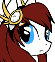 Size: 178x200 | Tagged: safe, artist:terror--bite, artist:the--cloudsmasher, artist:thecloudsmasher, oc, oc:time pulse, pegasus, pony, blue eyes, clock, digital art, female, freckles, icon, mare, solo, steampunk