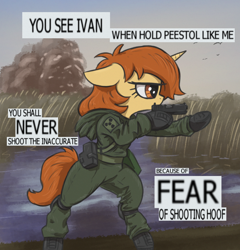 Size: 1230x1280 | Tagged: safe, artist:t72b, derpibooru exclusive, oc, oc:academia, pony, unicorn, atg 2020, bipedal, clothes, engrish, error, glock, gun, handgun, hoof hold, lake, meme, newbie artist training grounds, pistol, ponified meme, s.t.a.l.k.e.r., solo, text, weapon, you see ivan