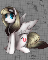 Size: 1592x1987 | Tagged: safe, artist:terror--bite, artist:the--cloudsmasher, artist:thecloudsmasher, oc, oc:splutter, pegasus, pony, 2012, beauty mark, cutie mark, doodles, goggles, meme, mixed media, notebook, ponysona, ponysona:splutter, rage comic