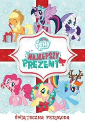 Size: 631x900 | Tagged: safe, applejack, fluttershy, pinkie pie, rainbow dash, rarity, twilight sparkle, alicorn, earth pony, pegasus, pony, unicorn, best gift ever, antlers, candy, candy cane, dvd, food, mane six, polish, snow, snowflake, twilight sparkle (alicorn), wreath