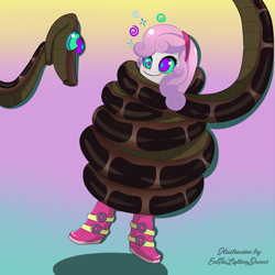 Size: 2500x2500 | Tagged: safe, artist:enethelightingdancer, sweetie belle, snake, equestria girls, boots, coils, dizzy, hypnosis, kaa, kaa eyes, looking at each other, shoes, signature, wrapped up
