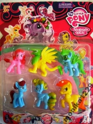 Size: 577x768 | Tagged: safe, applejack, gilda, pinkie pie, rainbow dash, rarity, tiddlywink, tra-la-la, wysteria, breezie, earth pony, griffon, pegasus, pony, unicorn, bootleg, g3, recolor, toy, zipper