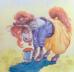 Size: 905x883 | Tagged: safe, artist:hailmace, oc, bucket, clothes, fruit, head dress, hoers, pony in cloths, rolled up sleeves, shirt, simple background, skirt, tongue out, traditional art, watercolor painting