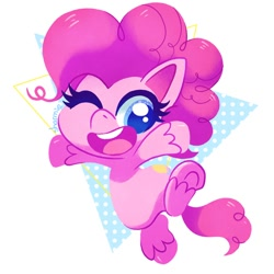 Size: 1000x1000 | Tagged: safe, artist:sharmie, pinkie pie, earth pony, pony, my little pony: pony life, pony life, abstract background, cute, diapinkes, female, mare, one eye closed, open mouth, solo, unshorn fetlocks, wink