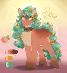 Size: 1466x1598 | Tagged: safe, artist:mint-and-love, oc, oc:fantasia, oc:sia, clydesdale, earth pony, wolf, wolf pony, flower, fretlocks, reference sheet, sunflower