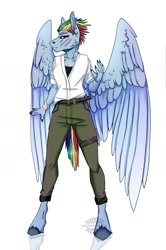 Size: 1024x1545 | Tagged: safe, artist:heroin-burn, rainbow dash, clothes, pants, scar, shirt, simple background, solo, white background