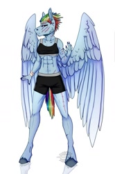 Size: 1024x1545 | Tagged: safe, alternate version, artist:heroin-burn, rainbow dash, anthro, clothes, scar, shorts, simple background, solo, sports bra, sports shorts, white background