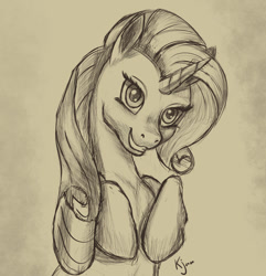 Size: 1027x1067 | Tagged: safe, artist:tauts05, rarity, pony, monochrome, solo, traditional art