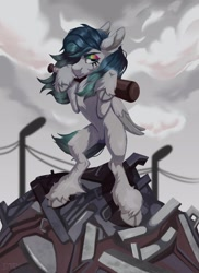 Size: 1571x2160 | Tagged: safe, artist:dreaming_flys, oc, oc only, pegasus, pony, baseball bat, bipedal, mascara, solo