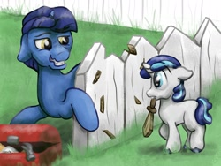 Size: 1280x960 | Tagged: safe, artist:kirbyliscious, night light, shining armor, pony, unicorn, atg 2020, colt, colt shining armor, destruction, father and child, father and son, fence, grin, male, mouth hold, nervous, nervous grin, newbie artist training grounds, pun, smiling, stallion, sword, visual pun, weapon, younger