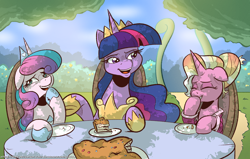 Size: 2200x1400 | Tagged: safe, artist:saturdaymorningproj, luster dawn, princess flurry heart, twilight sparkle, alicorn, pony, unicorn, the last problem, cake, female, food, jewelry, laughing, older, older flurry heart, older twilight, outdoors, princess twilight 2.0, regalia, twilight sparkle (alicorn)