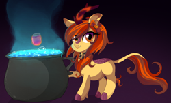 Size: 2985x1798 | Tagged: safe, artist:spookyle, oc, oc:pumpkin spell, kirin, cauldron, magic, solo