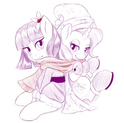 Size: 1180x1168 | Tagged: safe, artist:dstears, maud pie, trixie, earth pony, unicorn, 2014, christmas, clothes, costume, cute, diatrixes, female, hat, holiday, lesbian, maudabetes, mauxie, newbie artist training grounds, redraw, santa costume, santa hat, scarf, shipping, simple background, white background