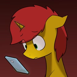 Size: 1300x1300 | Tagged: safe, artist:alexi148, oc, pony, unicorn, cellphone, male, phone, smartphone, solo, worried