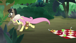 Size: 1920x1080 | Tagged: safe, screencap, doctor caballeron, fluttershy, daring doubt, apple, food