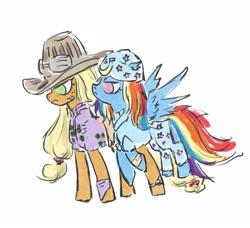 Size: 2806x2562   Tagged: safe, artist:laya-21, applejack, rainbow dash, earth pony, pegasus, pony, appledash, crossover, female, gyro zeppeli, johnny joestar, jojo's bizarre adventure, lesbian, shipping, steel ball run