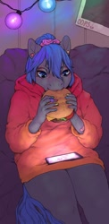 Size: 1080x2220 | Tagged: safe, artist:oops, oc, oc only, oc:rhealien, anthro, bandaid, blanket, burger, cheeseburger, clothes, cozy, digital art, ear piercing, earring, eating, food, hamburger, hoodie, jewelry, nail polish, phone, pierced ears, piercing, scrunchie, solo