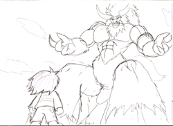 Size: 1122x816   Tagged: safe, artist:droll3, lord tirek, centaur, human, abs, cloud, crossover, frisk, monochrome, muscles, sketch, sky, traditional art, undertale