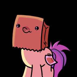 Size: 690x690 | Tagged: safe, artist:paperbagpony, oc, oc:paper bag, black background, fake cutie mark, pure unfiltered evil, simple background
