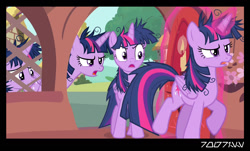 Size: 1288x778 | Tagged: safe, edit, edited screencap, editor:teren rogriss, screencap, twilight sparkle, alicorn, inspiration manifestation, angry, aurekbesh script, clones, golden oaks library, messy mane, multeity, ponyville, self ponidox, sparkle sparkle sparkle, twilight sparkle (alicorn)